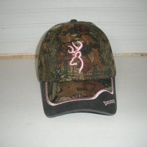 Browning Camo Hat/Cap Pink Trim One Size Adj Back